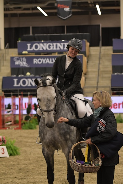 Casparo at the Royal West Presentations with rider Beke Brinkmann (One)
